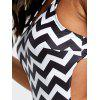 Zigzag Backless Side Lace-up One-piece Swimsuit - WHITE AND BLACK