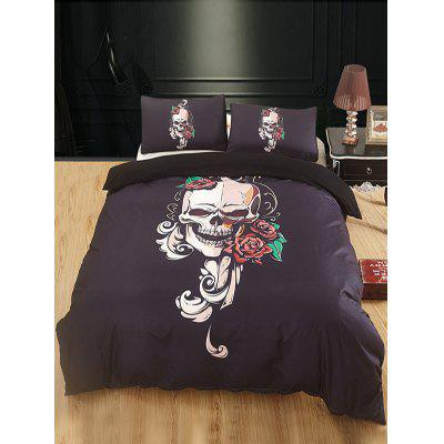Skull and Flowers Print 3PCS Bedding Set