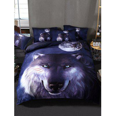 Moon Night Wolf Print 3PCS Bedding Set