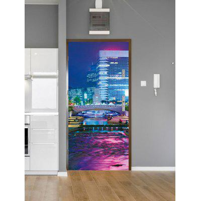 Buliding Night Scenery Print Door Stickers