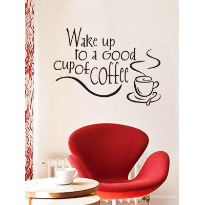 Wake Up Coffee Print Wall Stickers
