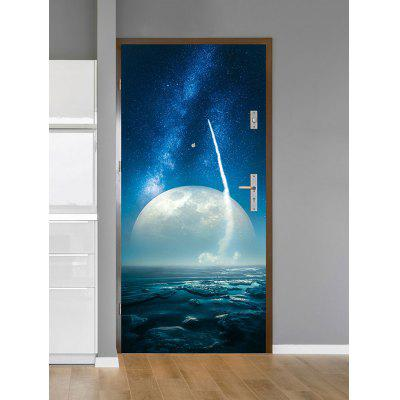 Starry Night Moon Sea Scenery Print Door Stickers