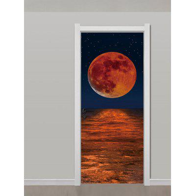 Sea Night Scenery Print Door Stickers
