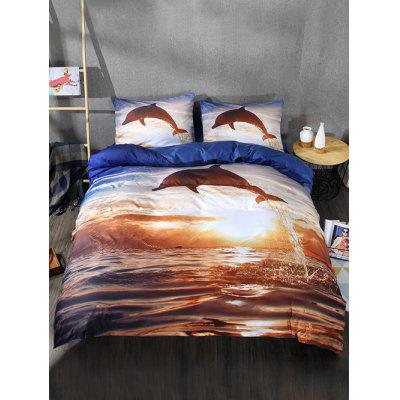 Sunset Dolphin Print 3PCS Bettwäsche-Set