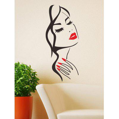 Sexy Girl with Red Lip Print Wall Stickers
