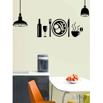 Light Cup Fork Pattern Kitchen Wall Stickers