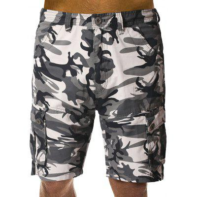 Short Cargo Camouflage Double Boutons avec Poches