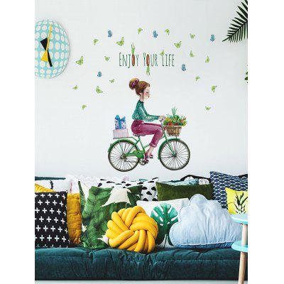 Cyclist Girl Print Wall Art Stickers