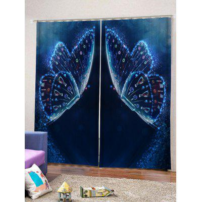 2PCS Unique Butterfly Pattern Window Curtains