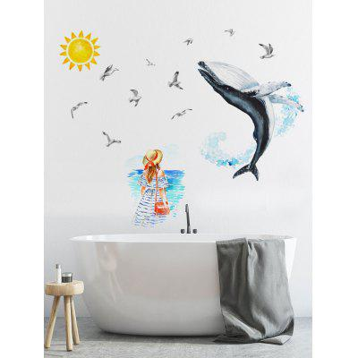 Dolphin and Girl Print Wall Art Stickers