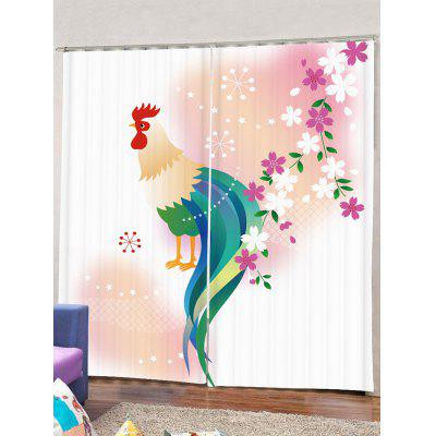 2PCS Cock Flower Pattern Window Curtains