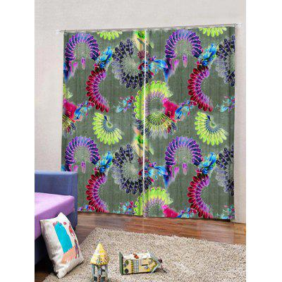 2PCS Peacock Feather Fan Print Window Curtains