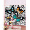 2PCS Vintage Butterfly Print Window Curtains - GRAY CLOUD