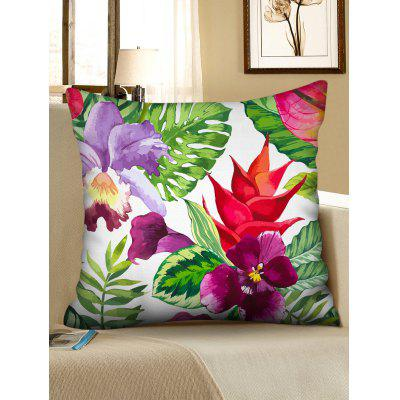 Tropical Flower Leaves Print Throw Pillow Case