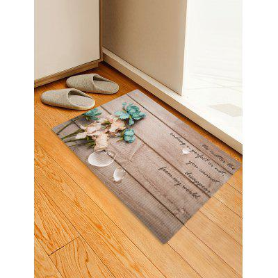 Wooden Grain Flower Letters Print Area Rug