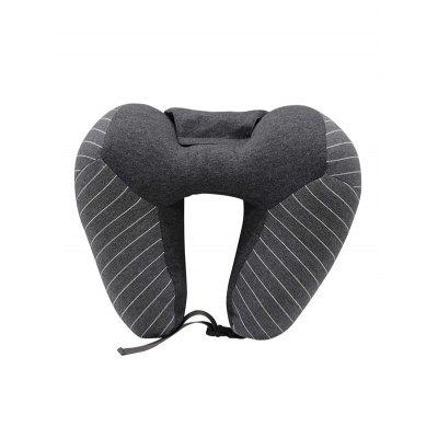 Striped Print U Shape Travel Pillow with Sleep Mask