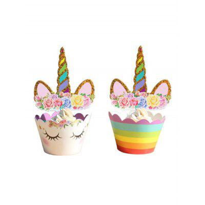 Unicorn Pattern Cupcake Toppers and Wrappers