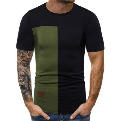Camiseta Casual Color Block Panel Camiseta
