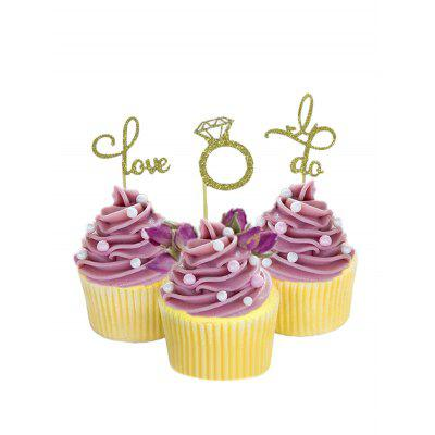 Love I Do Ring Pattern Cupcake Toppers