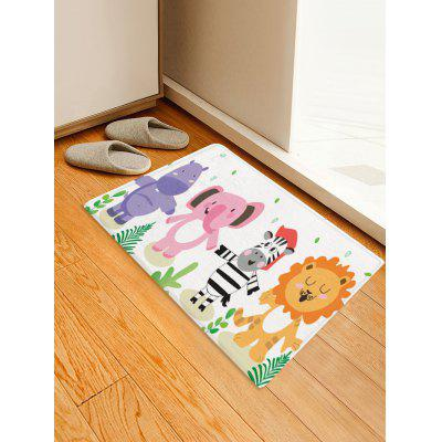 Lion Elephant Zebra Print Kids Bath Rug