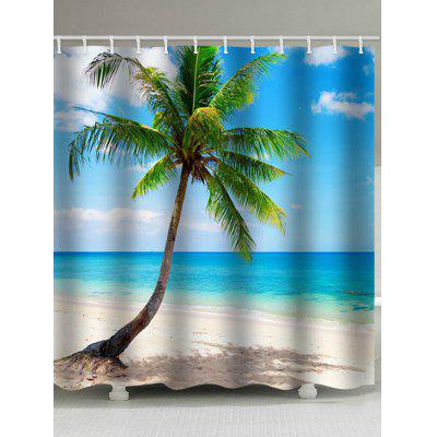 Beach Palm Tree Print Waterproof Shower Curtain