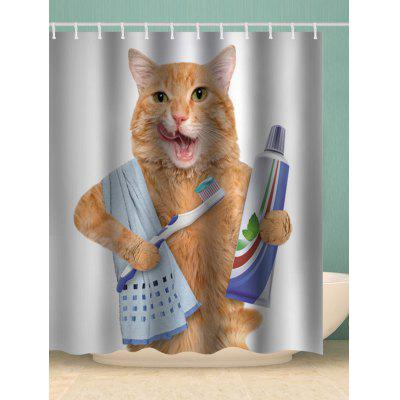 Cat Brush Print Waterproof Bathroom Shower Curtain