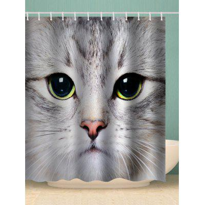 Cat Face Print Waterproof Bathroom Shower Curtain