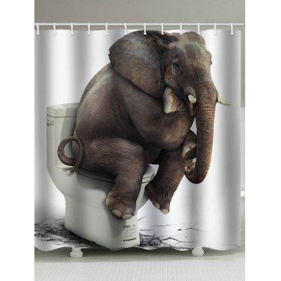 Elephant Toilet Waterproof Shower Curtain