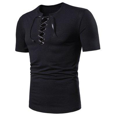 Einfarbig Lace Up T-Shirts