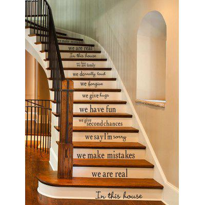 Simple Style Letters Print Stair Stickers