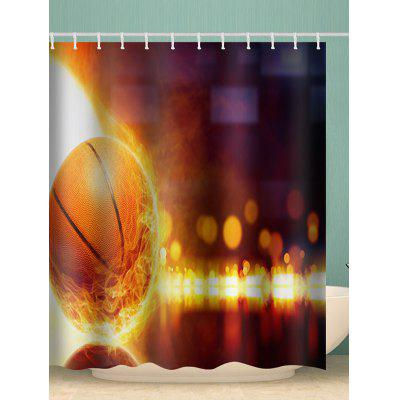 Flame Basketball Waterproof Shower Curtain