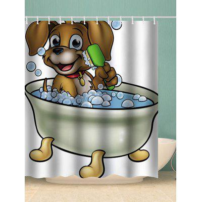 Bathing Dog Print Waterproof Shower Curtain