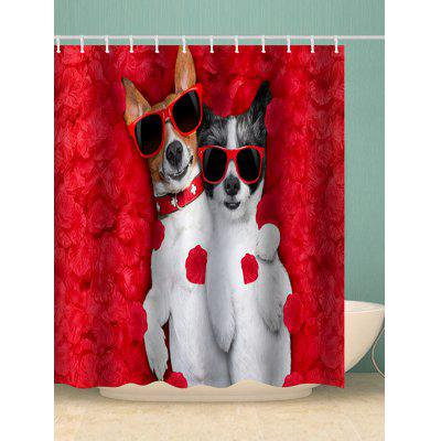 Dog Couple Print Shower Curtain