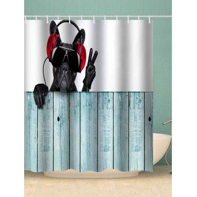 Listening to Music Dog Print Shower Curtain