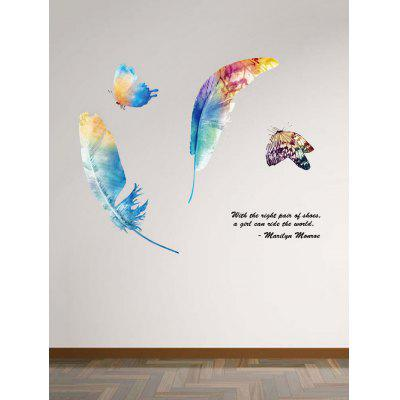 Butterfly and Feather Print Wall Art Stickers