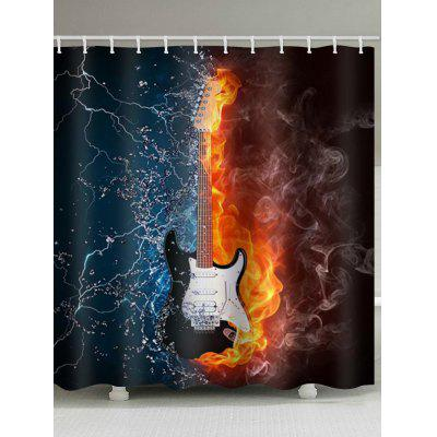 Guitar Fire and Water Print Waterproof Bathroom Shower Curtain