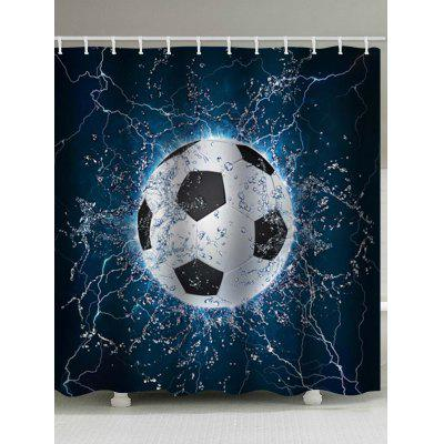 Soccer Water Print Waterproof Bathroom Shower Curtain