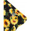 Plus Size Sunflower Print Fit and Flare Dress - MULTI-A