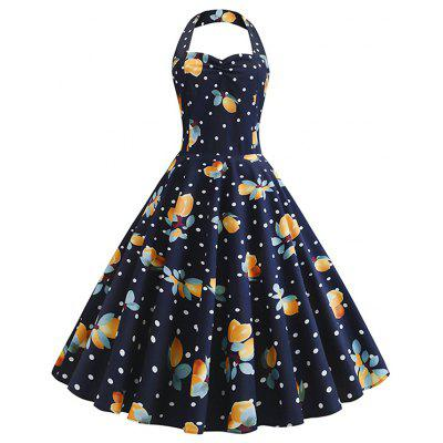 Vintage Halter Full Print Pin Up Dress