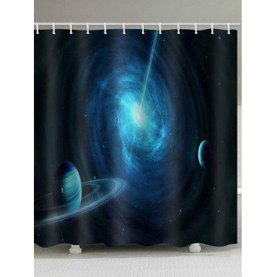 Outer Space Planet Print Waterproof Shower Curtain