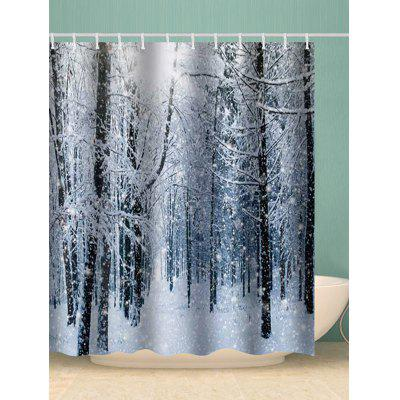 Snowy Forest Print Waterproof Bathroom Shower Curtain