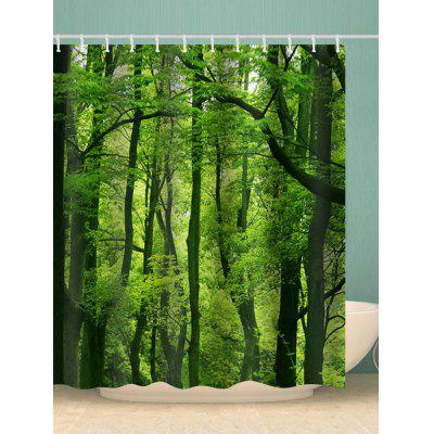 Forest Print Waterproof Bathroom Shower Curtain