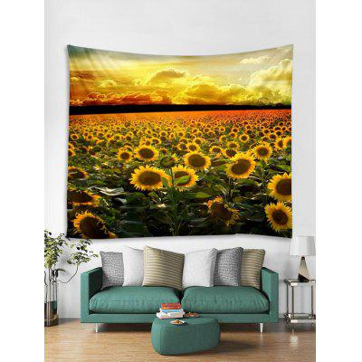Sunset Sunflowers Landscape Stampa Tapestry Wall Art