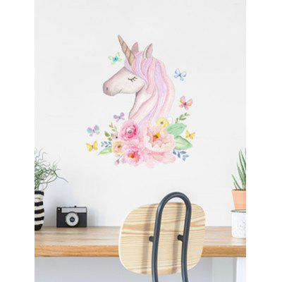 Unicorn Flowers Print Removable Wall Art Stickers