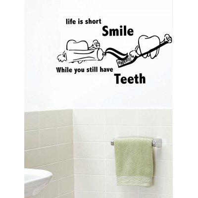 Brush Teeth Quote Print Removable Wall Art Stickers
