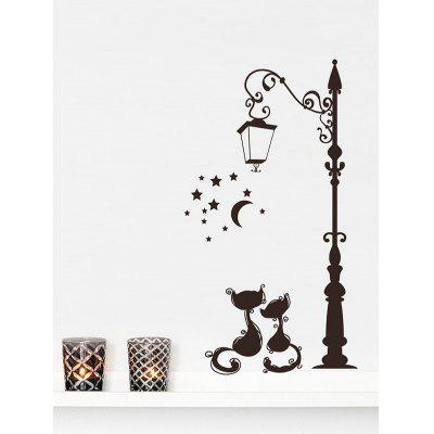 Street Lamp Cats Print Removable Wall Art Stickers