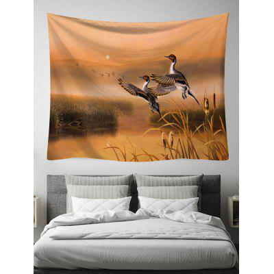 Sunset Flying Crane Print Wall Tapestry