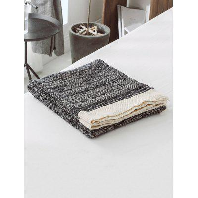 Color Block Pattern Jacquard Knitted Blanket