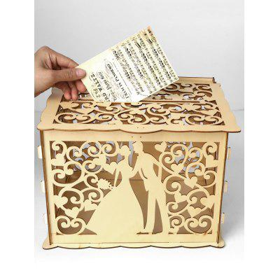 Wedding Decoration Couple Pattern DIY Wooden Business Card Box