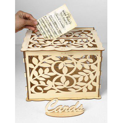 Wedding Decoration Leaves Pattern DIY Wooden Business Card Box